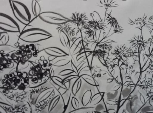brush and ink painting of wildflowers