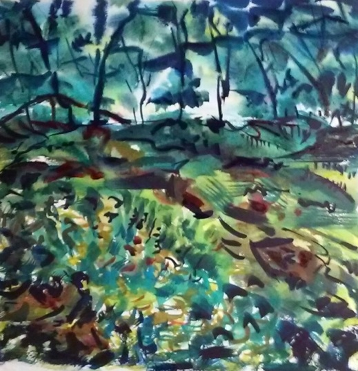 watercolor of mossy bank in woods