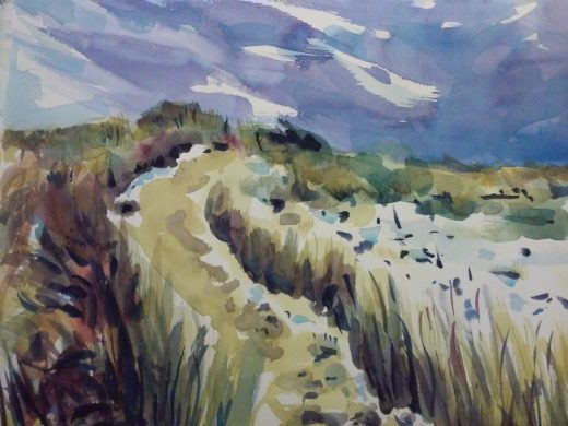 watercolor of nauset dunes