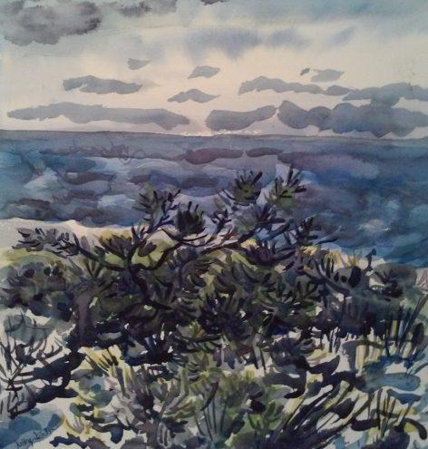 watercolor of beach vegetation