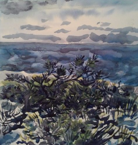 watercolor of beach vegetation
