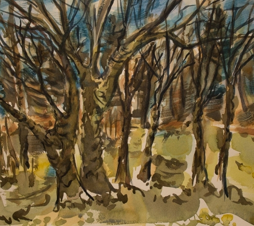 watercolor of ivy-covered trees on Pochet Road in E. Orleans
