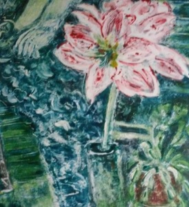 monotype in greens and pinks of amaryllis