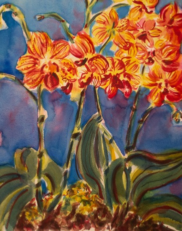 watercolor painting of brightly colored orchids