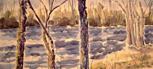 three-part watercolor painting of trees and wetland in winter