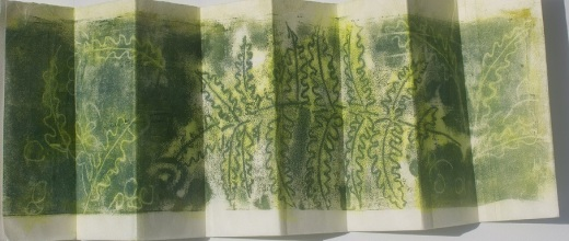 fern trace monotype on Asian paper folded into accordion book