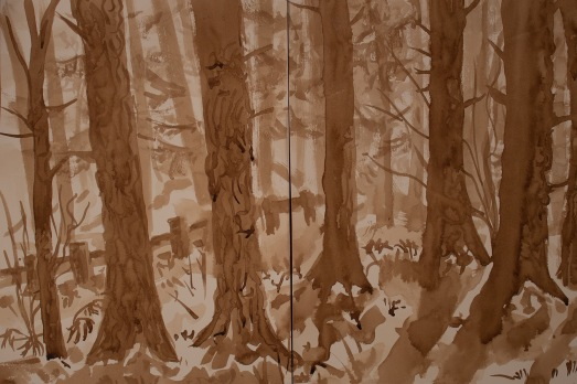 walnut ink painting of pine trees on a snowy day