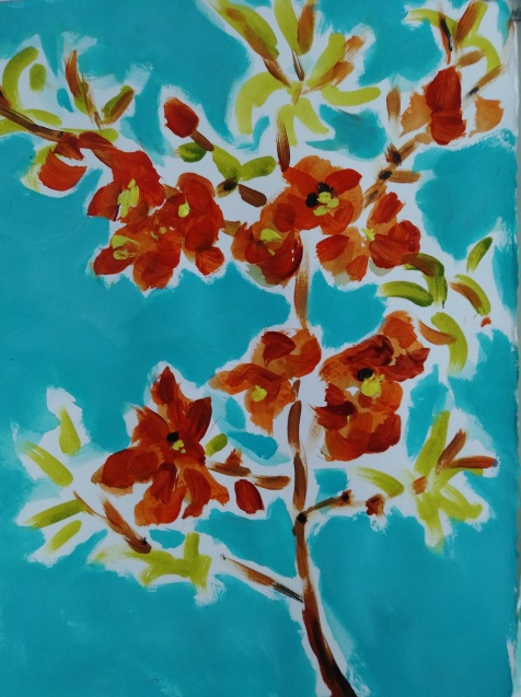 acrylic on paper of flowering quince