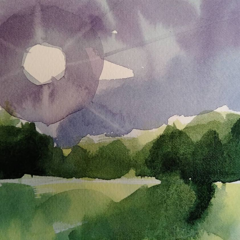 purple and dark green watercolor of afternoon sun on meadow