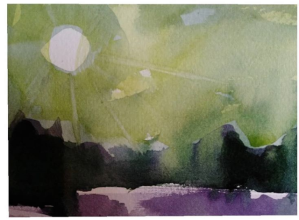 purple and green watercolor of late afternoon sun