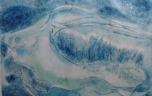 dry point print in blue and aqua of surrealistic shell landscape