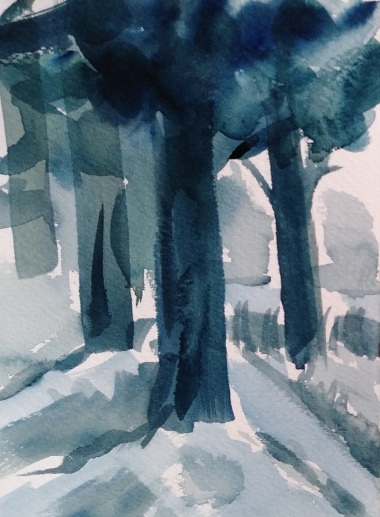 blue watercolor of 4 trees