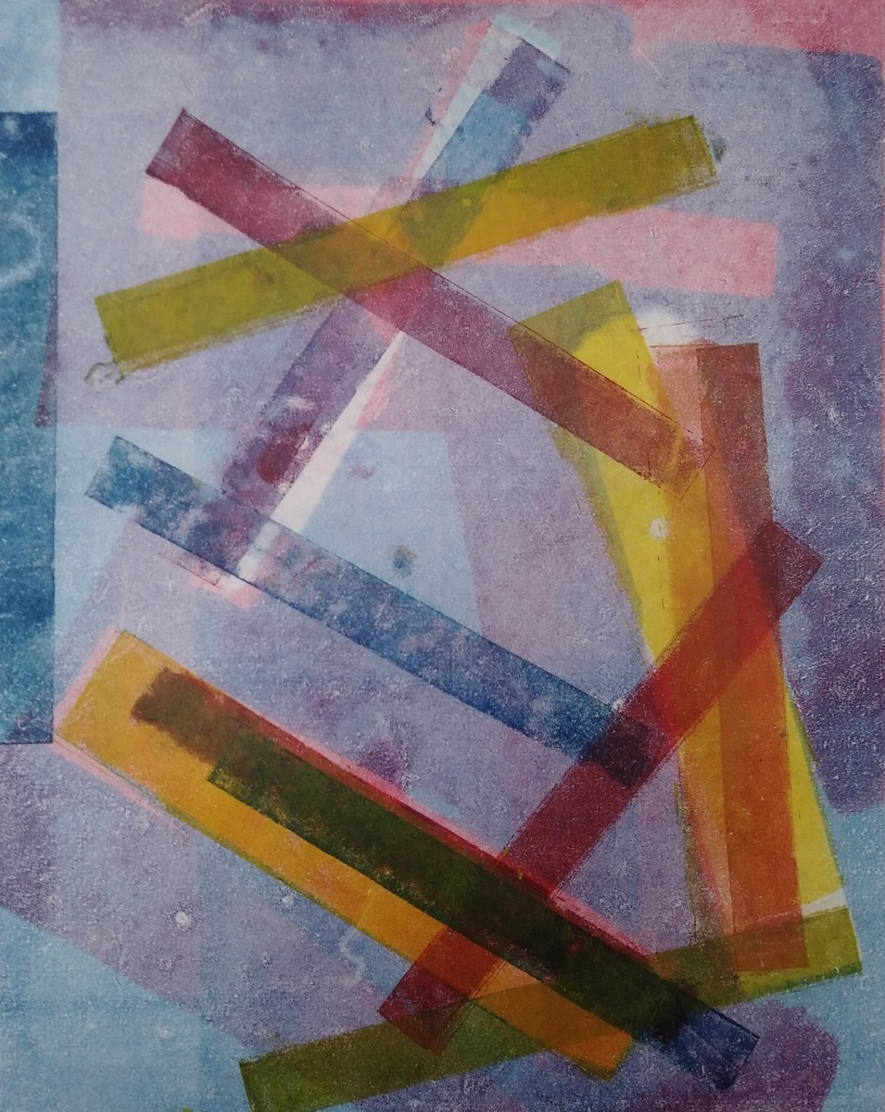 abstract geometric monotype on Asian paper, multi-colored