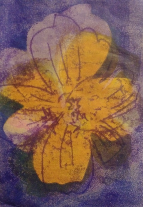 monotype on Asian paper of single marigold blossom, golden yellow on violet blue background
