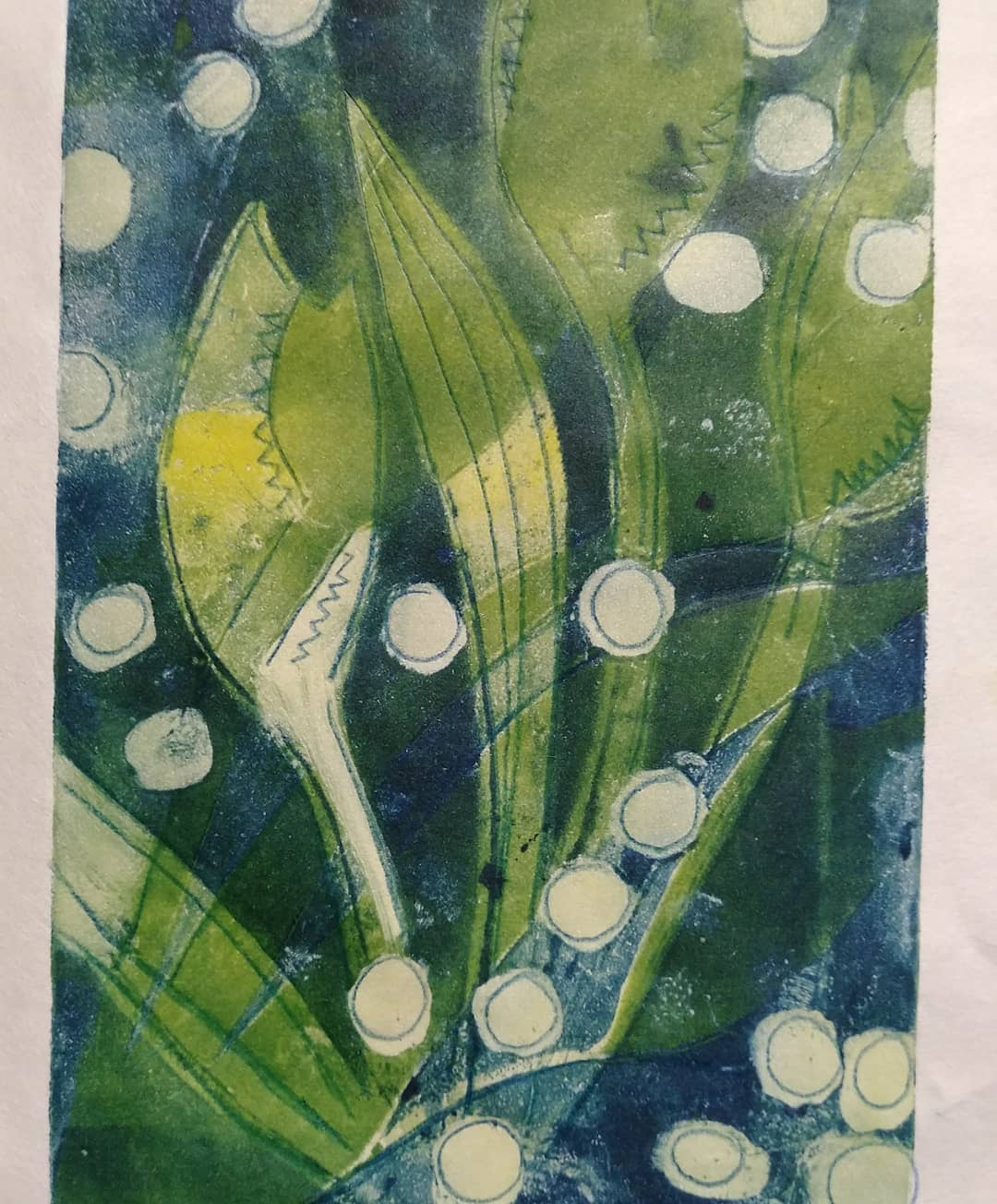 blue and green tulips with white dots