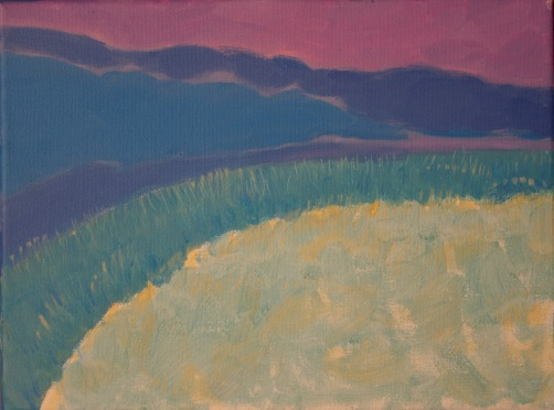 acrylic on canvas painting of highly abstracted dunes and dune grasses in pink, blue, green and yellow.