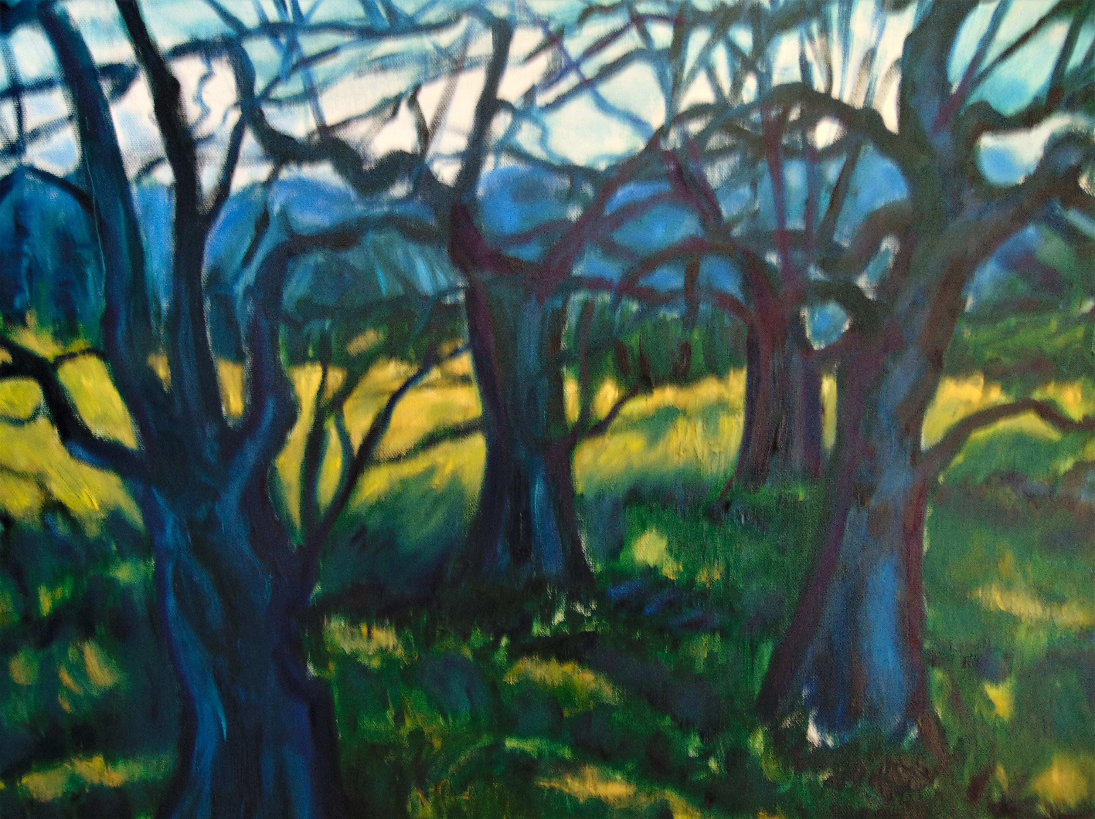 oil painting of twisted blue apple trees with blue mountains in backgroud and green and yellow field